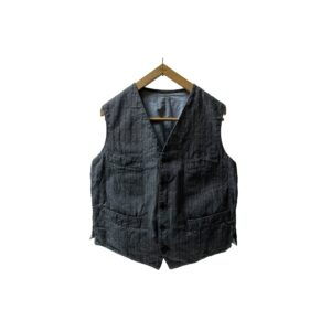 """30-40's """"FRENCH VINTAGE"""" COTTON HERRINGBONE WORK VEST made in FRANCE"""