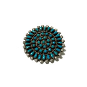 """OLD """"INDIAN JEWELRY / NAVAJO"""" SILVER × TURQUOISE BROOCH"""