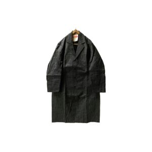 """[DEADSTOCK] 40's """"FRENCH VINTAGE"""" BLACK CHAMBRAY COAT made in FRANCE (48)"""